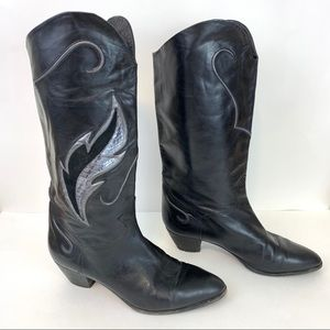 VTG Blk Leather Western Feather Cowboy Boots 10.5